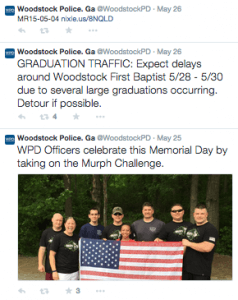 May 26, 2015 Twitter Feed for the Woodstock Police Department @WoodstockPD
